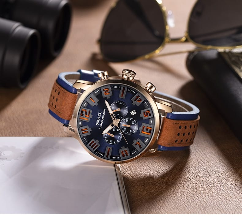 Men's Casual Sport Military Leather Wrist Watch - 6 Colours