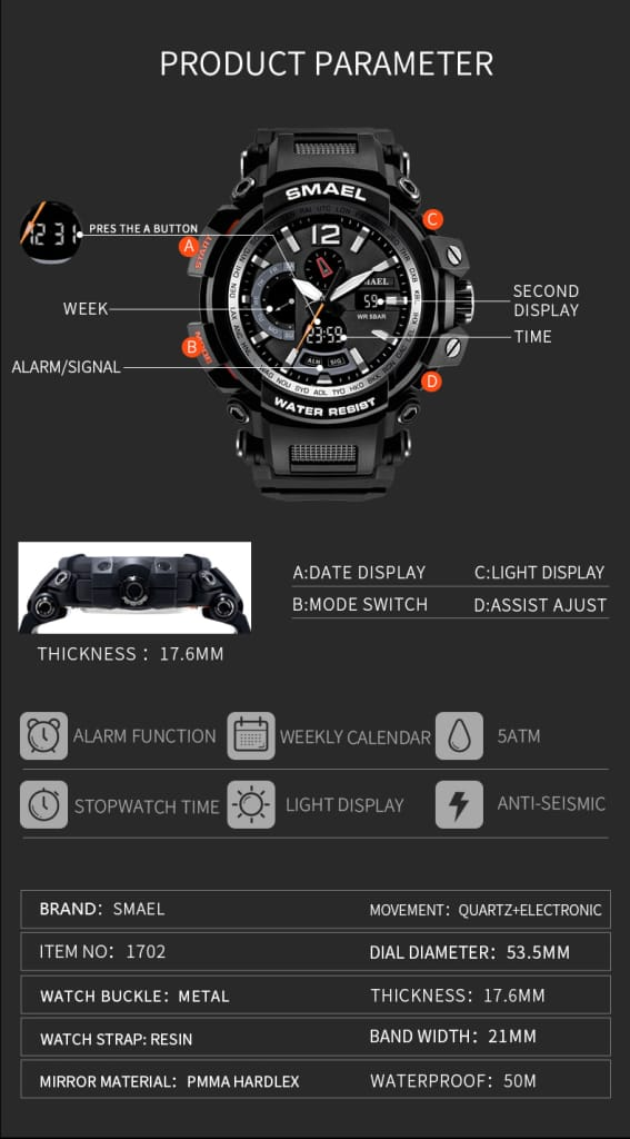 Digital 50m Waterproof 6 in 1 Led Sport Wrist Watch - 8