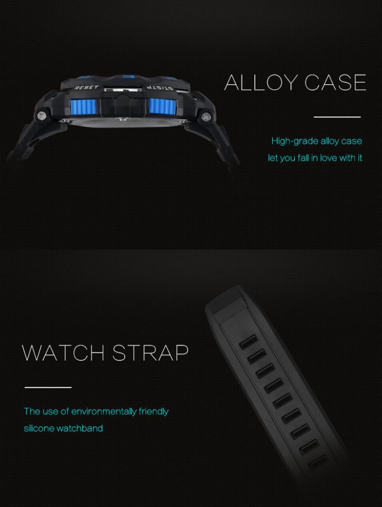 Multi-functional Men's 50m Waterproof Digital Led Wrist