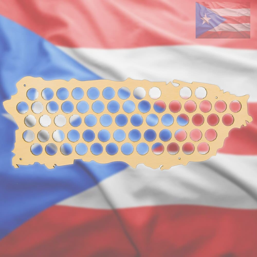 Wall Mounted Beer Cap Map of Puerto Rico