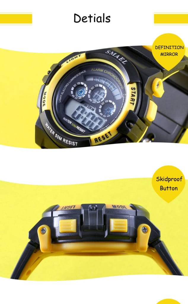 8 in 1 Kids 50m Waterproof Sport Watch - 14 Colours