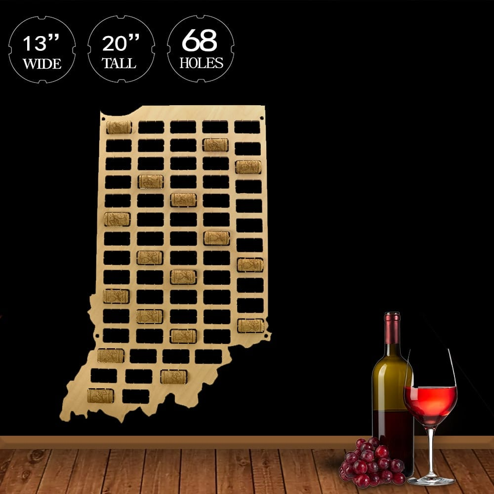 Indiana Wine Cork Map