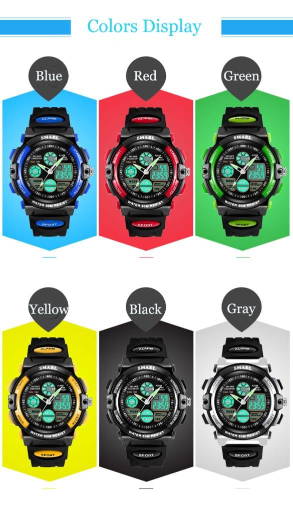 Digital 50m Waterproof Kids Watch - 12 Colours