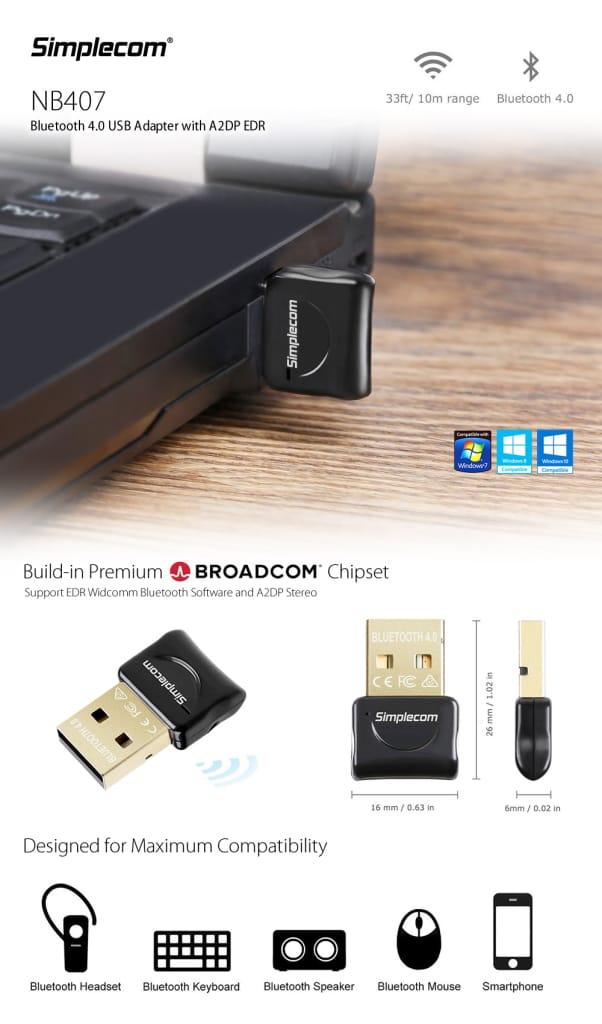 Simplecom Nb407 Usb Bluetooth 4.0 Widcomm Adapter Wireless
