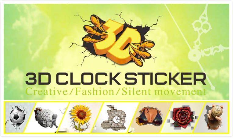Pag Sticker 3d Wall Clock Decals Oil Painting Pigment Wall