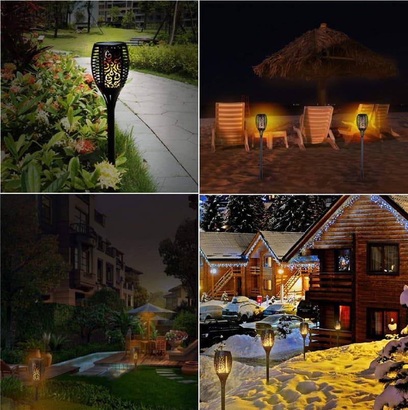 Solar Power Light Flickering Flame Outdoor Garden Lamp 33