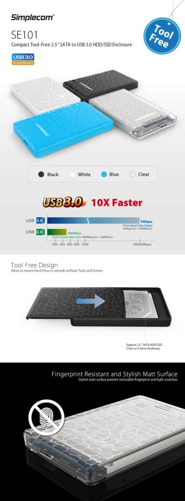 Simplecom Se101 Compact Tool-free 2.5'' Sata to Usb 3.0