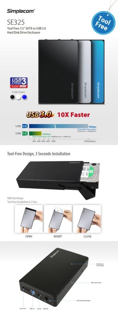 Simplecom Se325 Tool Free 3.5 Sata Hdd to Usb 3.0 Hard Drive