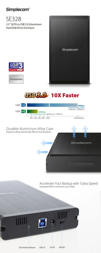 Simplecom Se328 3.5'' Sata to Usb 3.0 full Aluminium Hard